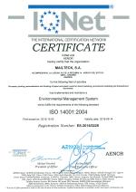 Certificado Sistema y Gestión Ambiental ISO 14001 IQNET
