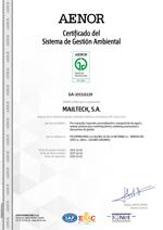 Certificado Sistema y Gestión Ambiental ISO 14001